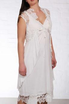 Платье с макраме и кардиганом молочный модал
