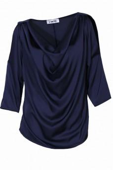Блуза шелковая водопад синяя