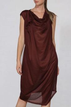 Платье двойка асимметрия коричневое