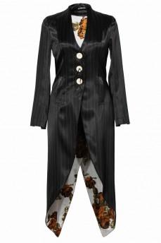 Черный пиджак -фрак атласный