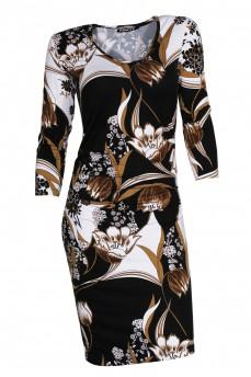 Платье с драпировкой рисунок тюльпаны