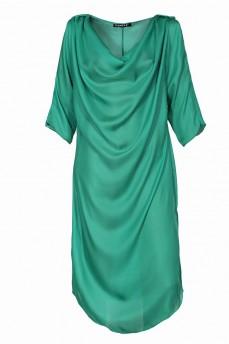Шелковое платье качели изумрудного цвета