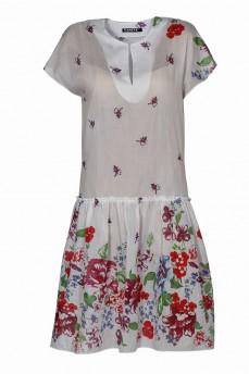 Платье с воланом из маркизета