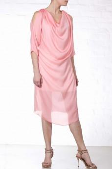 Шелковое платье качели персикового цвета