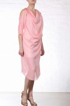 Платье шелковое качели персикового цвета