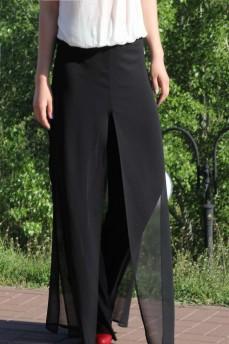 Черные брюки -юбка шифоновые
