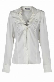 Кремовая шелковая блуза  с воланом