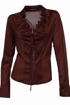 Коричневая блуза  с воланом