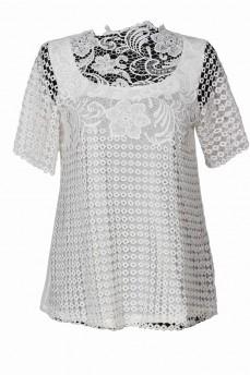 Блуза рукав  макраме молочная модал