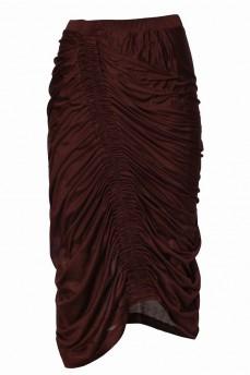 Коричневая юбка с драпировкой
