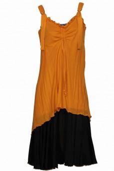 Комбинированное платье на брителях желтое комплект