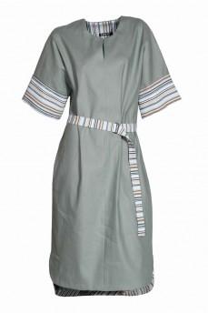 Льняное  платье цвет мох отделка полоска