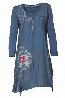 Платье двойка серо-голубое