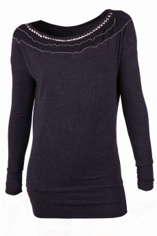 Блуза черная меланжевая с трансформирующейся горловиной