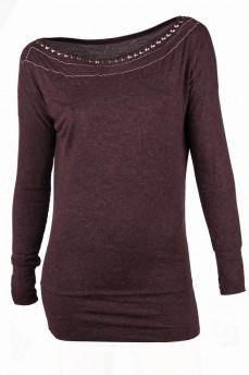 Блуза шоколадного оттенка с прозрачными вставками
