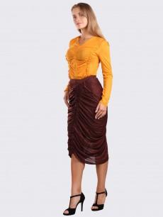 Блуза желтая с драпировкой