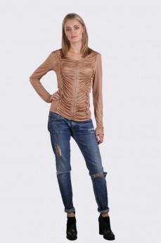 Блуза с драпировкой бежевая