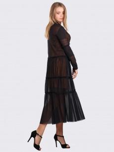 Черное платье ярусы из сетки с длинным рукавом