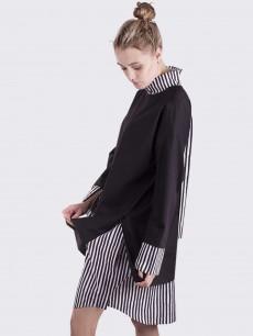 Платье рубашка черное со вставками черная полоска
