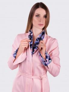 Платье пиджак из розового котона с двойным воротником и манжетами