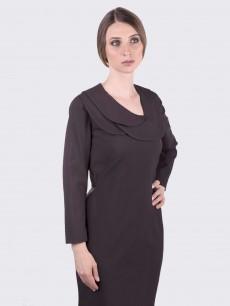 Платье футляр из коричневой шерсти с тройным воротником
