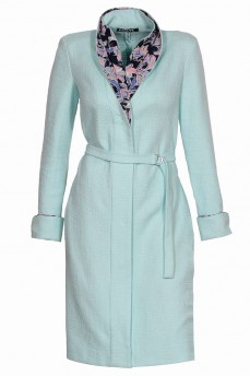 Платье пиджак из котона  тифани с двойным воротником и манжетами
