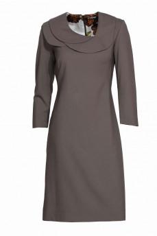 Платье футляр из оливковой шерсти с тройным воротником