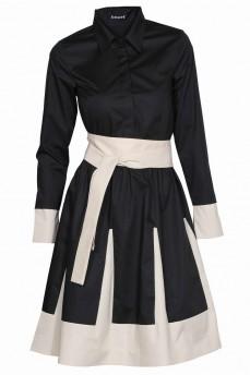 Платье рубашка черное с бежевыми клиньями