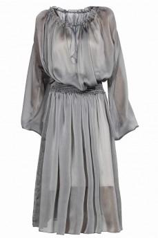 Шифоновое короткое платье цвет металик