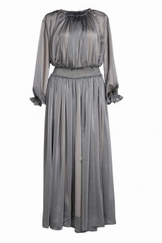 Длинное шифоновое платье цвет металик