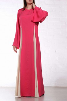Длинное шелковое платье коралловое с бежевыми клиньями