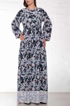 Шелковое длинное синее платье с лилиями