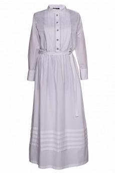 Длинное белое котоновое платье с защипами