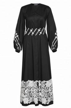 Черное длинное  платье с макраме