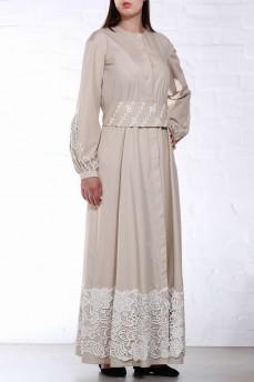 Длинное бежевое  платье рубашка с макраме