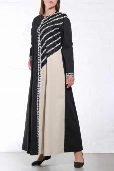Длинное черное  платье рубашка асимметрия с макраме