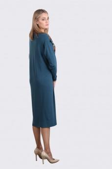 Комбинированное трикотажное  платье бирюзовое с цветной полоской