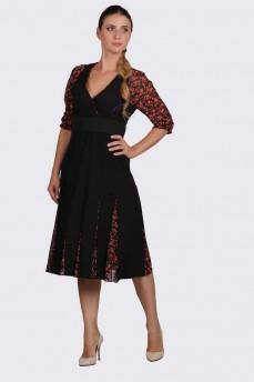 Платье черное с клиньями красные розы