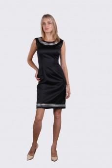 Платье c болеро атласного плетения с вставками гусинные лапки