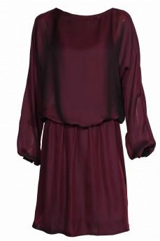 Платье шелковое трикотажный манжет бордовое