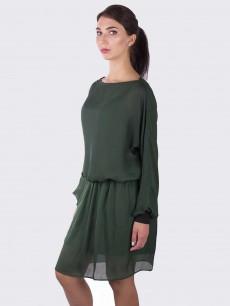 Шелковое платье трикотажный манжет темно изумрудное
