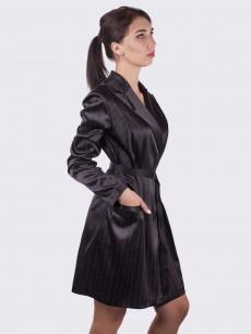 Платье-блайзер черное в полоску с молнией атлас