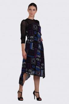 Шерстяное платье асимметрия фиолетовая геометрия
