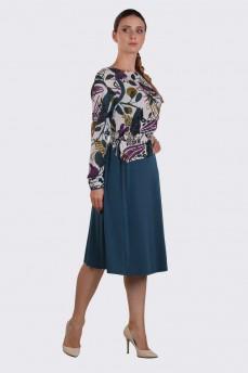 Платье тонкая шерсть фигурный пояс бирюза