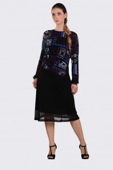 Платье фиолетовое геометрия тонкая шерсть фигурный пояс