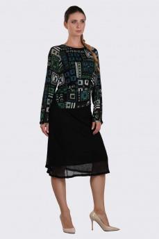 Платье тонкая шерсть зеленое геометрия фигурный пояс