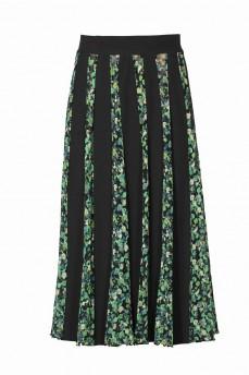 Длинная черная юбка клинья зеленые розы