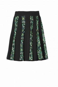 Короткая черная юбка клинья зеленые розы