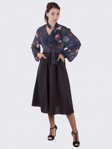Шерстяная юбка полусолнце с бантом коричневая