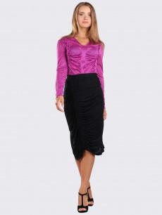 Черная юбка с драпировкой